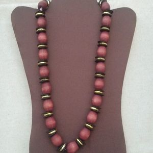 Vintage Large Wood Bead Chunky Statement Necklace